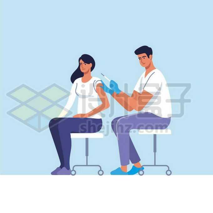 卡通医生正在给病人打针注射疫苗手绘插画4275522矢量图片免抠素材免费下载