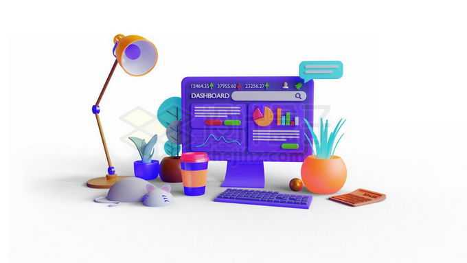 3D立体风格电脑和台灯设计师桌面9218149免抠图片素材免费下载