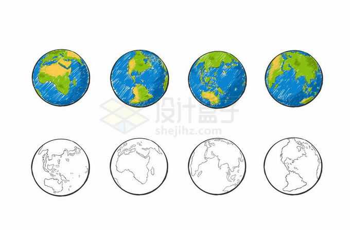 4款彩色涂鸦手绘风格地球和线条地球图案3702639矢量图片免抠素材免费下载