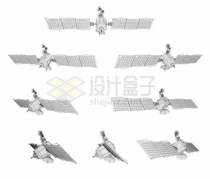 8个不同角度的线条网格组成的人造卫星4739432矢量图片免抠素材