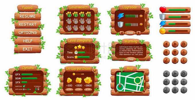 各种各样的木制木头风格游戏操作界面调节按钮元素2266126矢量图片免抠素材免费下载