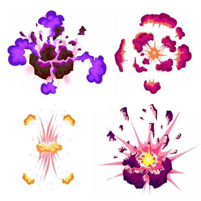 4种卡通漫画风格的彩色爆炸效果3437249矢量图片免抠素材