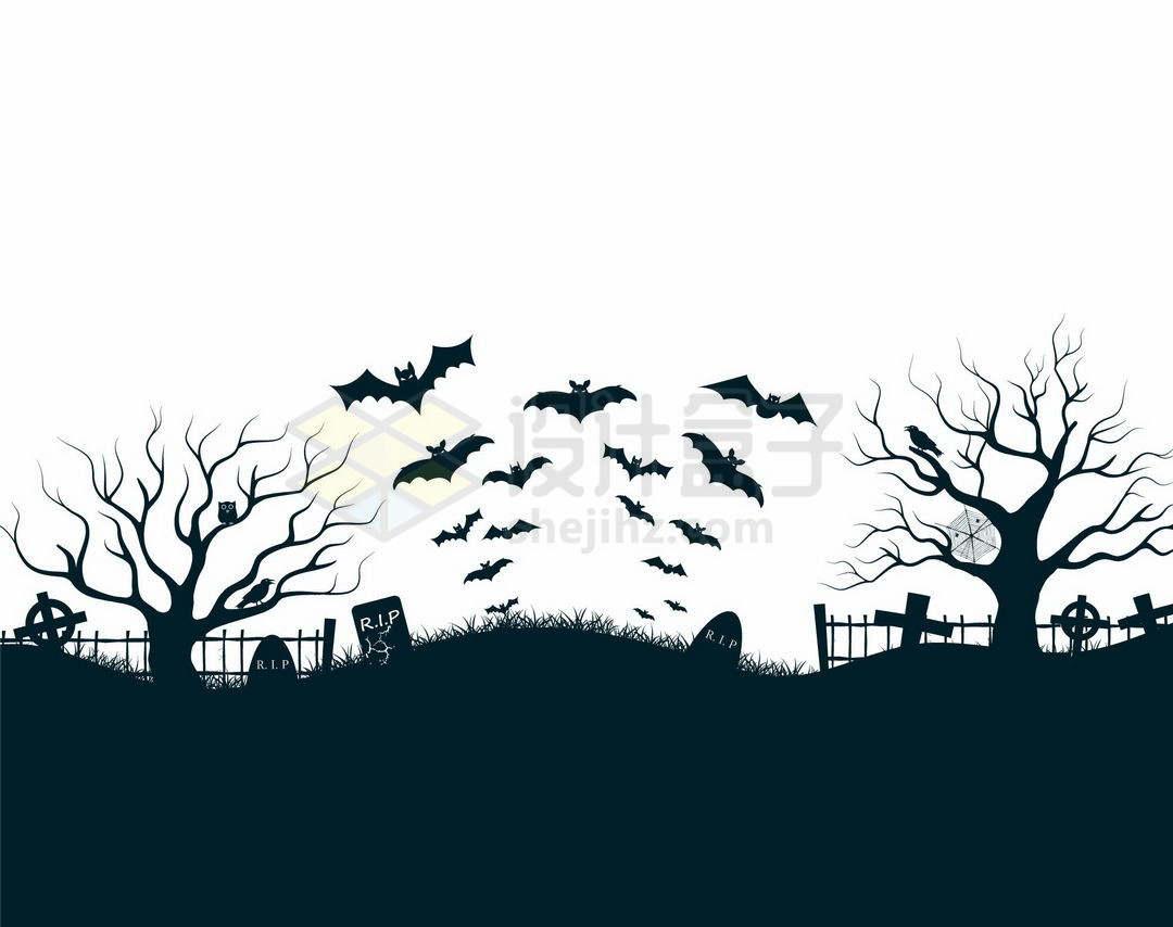 夜晚的坟地墓园中的墓碑枯树和空中的蝙蝠恐怖剪影9208006矢量图片免抠素材