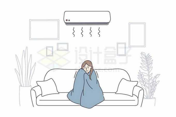 冬天裹着被子吹空调的女生瑟瑟发抖手绘线条插画6006877矢量图片免抠素材免费下载