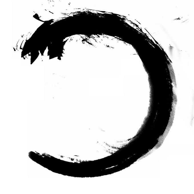 抽象黑色墨水涂鸦风格飞龙形状的圆环传统绘画1895273免抠图片素材
