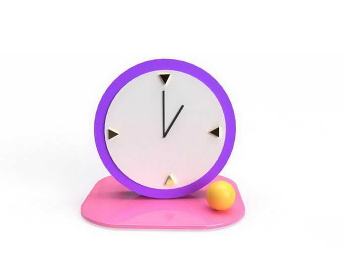 3D立体紫色时钟3340906免抠图片素材