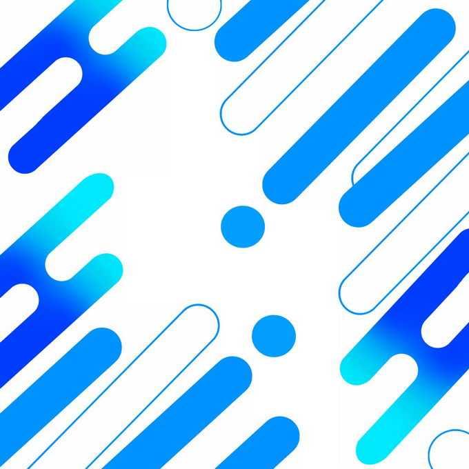 蓝色抽象几何圆角色块线条装饰7262714免抠图片素材