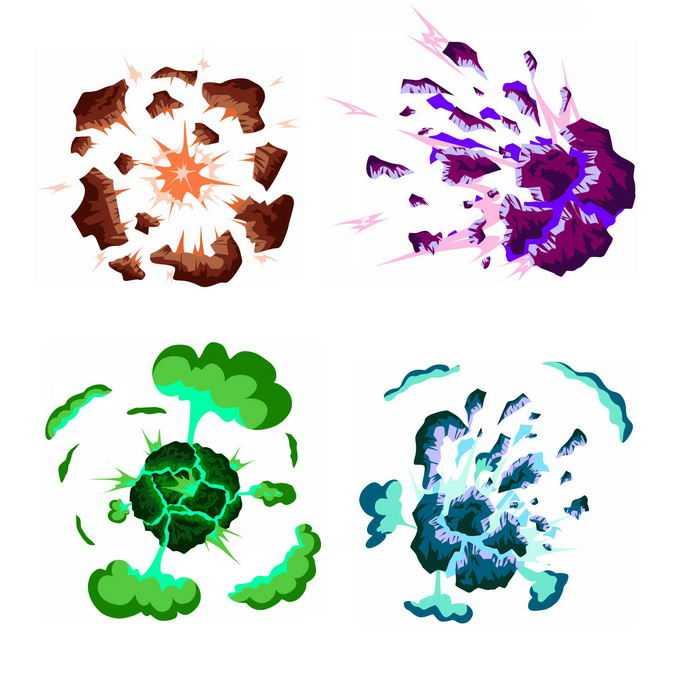 4种卡通漫画风格的彩色爆炸效果9951449矢量图片免抠素材