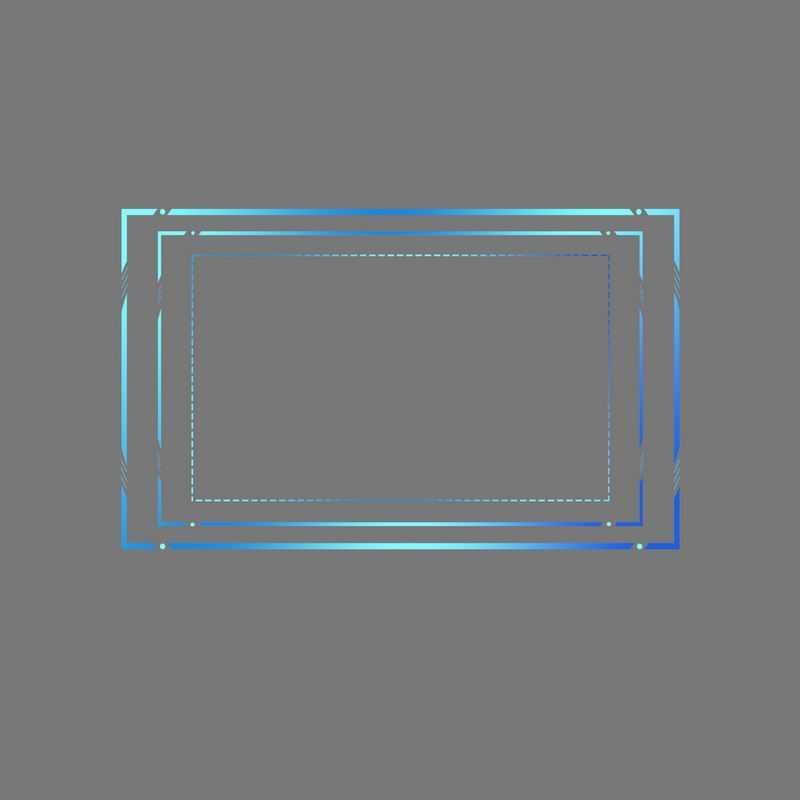 科技风格蓝色长方形线条组成的文本框边框6364505免抠图片素材