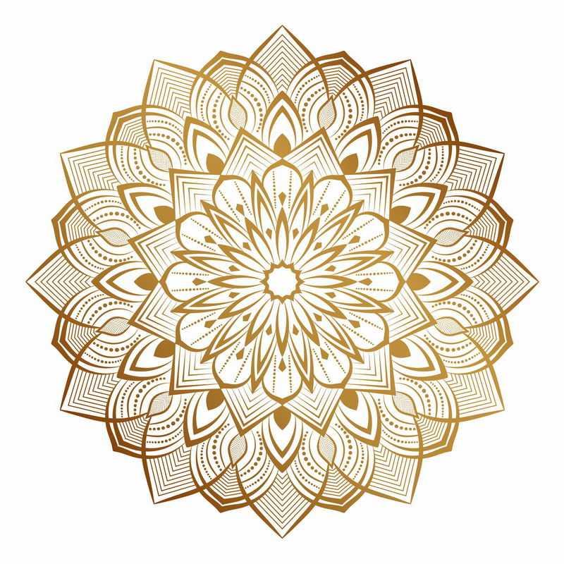 复古风格的复杂金色蔓藤花纹宗教花朵图案5714536矢量图片免抠素材