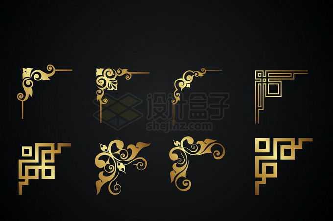 8款金色金属光泽复古直角框架几何形状艺术花纹装饰3074797矢量图片免抠素材免费下载