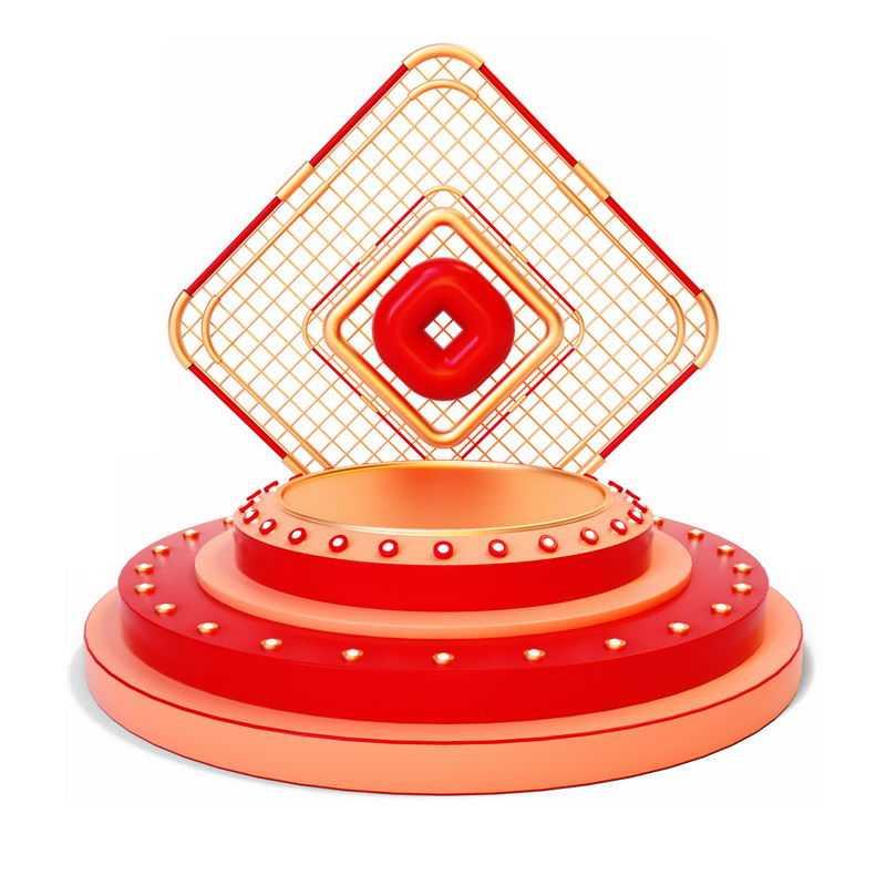 3D立体金色红色网格背景装饰和红色圆形展台4396159免抠图片素材