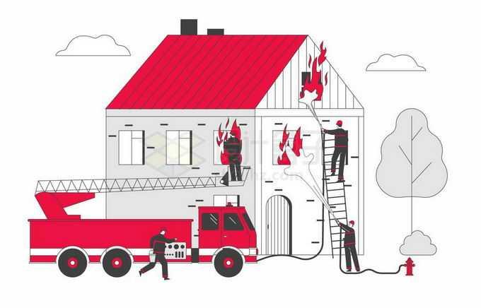 驾驶着消防车正在为房子灭火的消防员宣传插画2507106矢量图片免抠素材免费下载