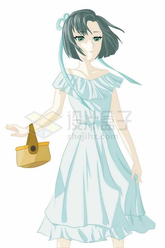 淡蓝色裙子的二次元卡通女孩6682404矢量图片免抠素材免费下载