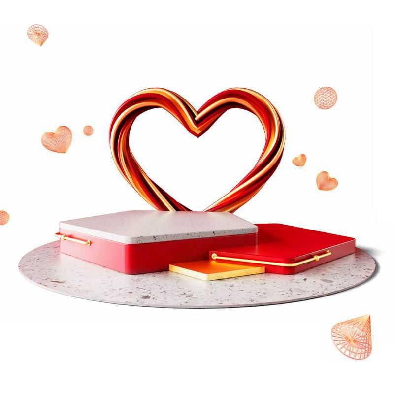 3D立体风格心形装饰情人节礼物圆形展台7125285免抠图片素材
