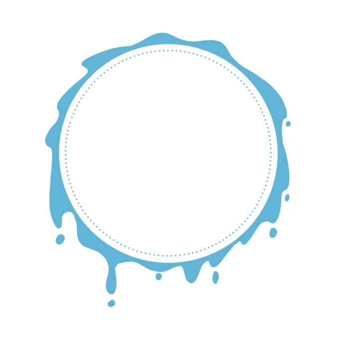 蓝色水滴风格的圆形文本框边框信息框3846785免抠图片素材