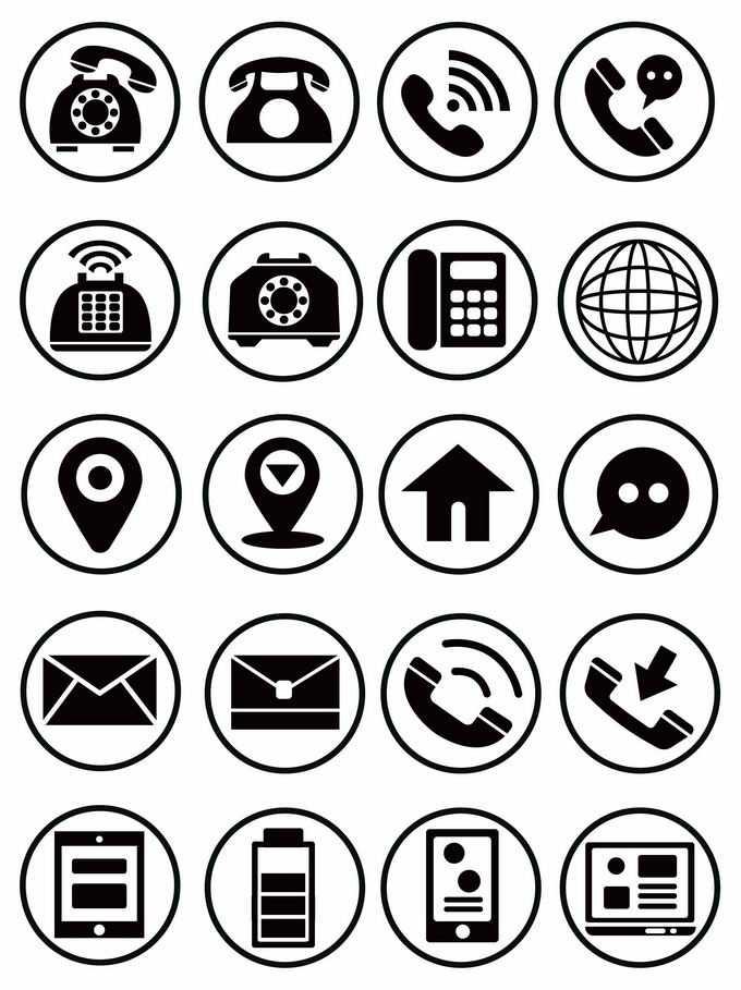 20款圆圈风格电话网络定位标志邮件电池电量电脑图标3438528矢量图片免抠素材免费下载