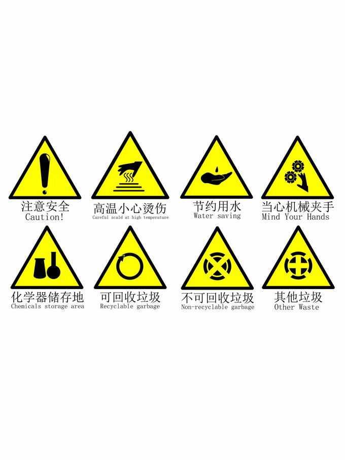 注意安全高温小心烫伤节约用水标志等黄色三角形警示标志4700534矢量图片免抠素材免费下载