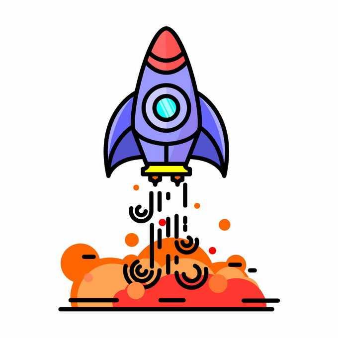 MBE风格正在起飞的卡通小火箭宇宙探索插画1857890矢量图片免抠素材免费下载