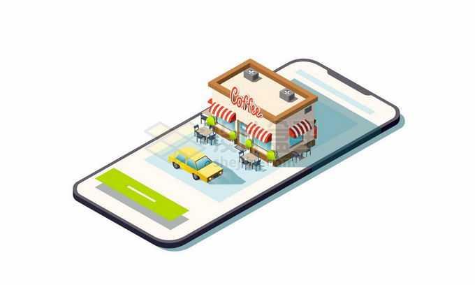 2.5D风格手机上的咖啡店手机导航功能2255161矢量图片免抠素材