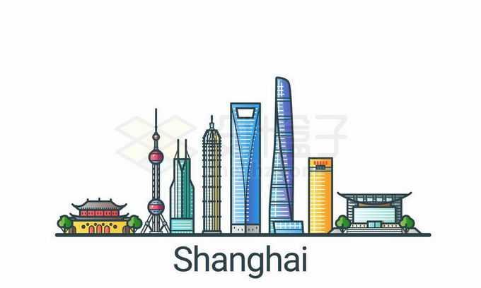 上海东方明珠塔等陆家嘴地标建筑彩色手绘插画1839577矢量图片免抠素材免费下载