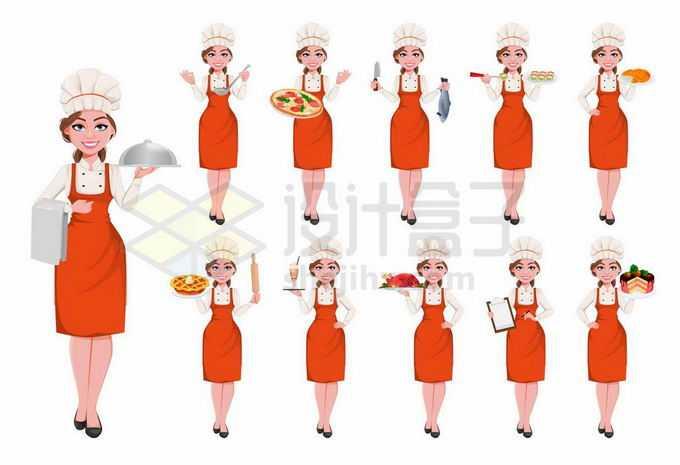 各种不同姿势的卡通美女厨师8310423矢量图片免抠素材
