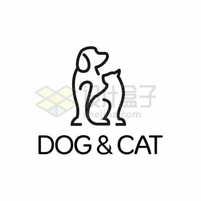 线条风格猫咪和狗狗创意宠物类logo标志设计7189876矢量图片免抠素材