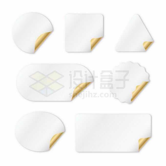 7款逼真的金色白色贴纸标签纸9860292矢量图片免抠素材免费下载