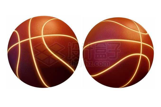 2个不同角度发光线条的酷炫篮球2154153免抠图片素材免费下载