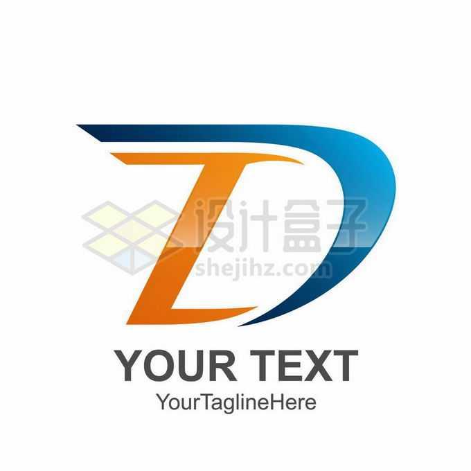 创意3D立体风格橙色蓝色大写字母D标志logo设计9174058矢量图片免抠素材
