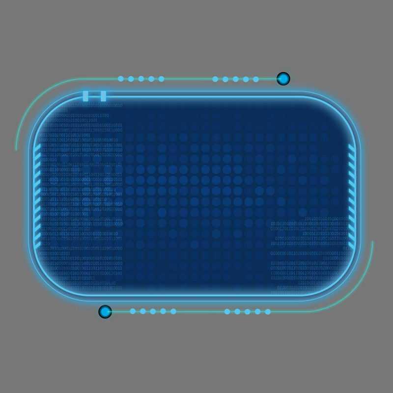 科技风格蓝色发光线条背景组成的圆角方形文本框信息框2512397免抠图片素材