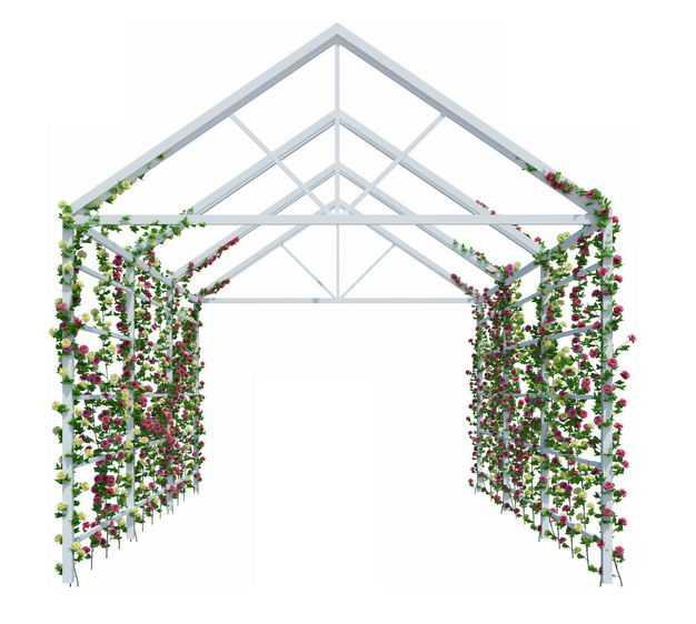 白色花园廊架花架走廊上的绿色藤蔓绿植花朵4099804免抠图片素材