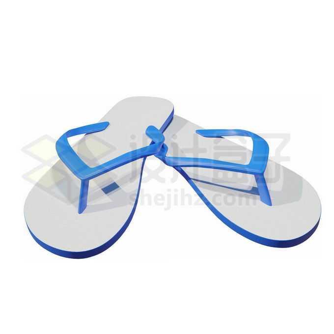 蓝色的人字拖防滑时尚沙滩拖鞋3727952免抠图片素材免费下载