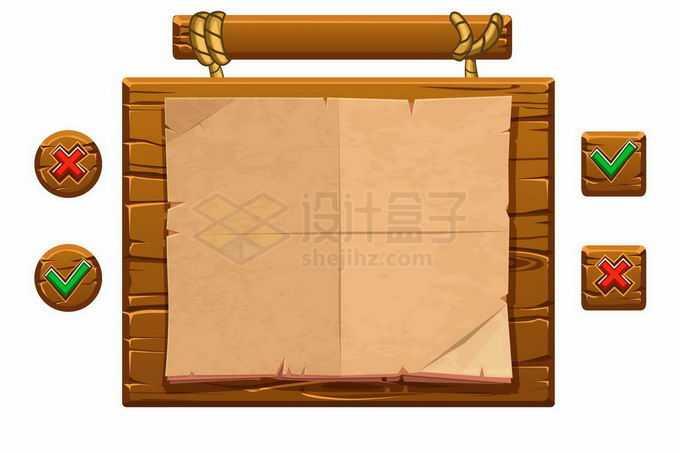木制木头风格游戏操作界面和周围的控制按钮元素3247717矢量图片免抠素材免费下载