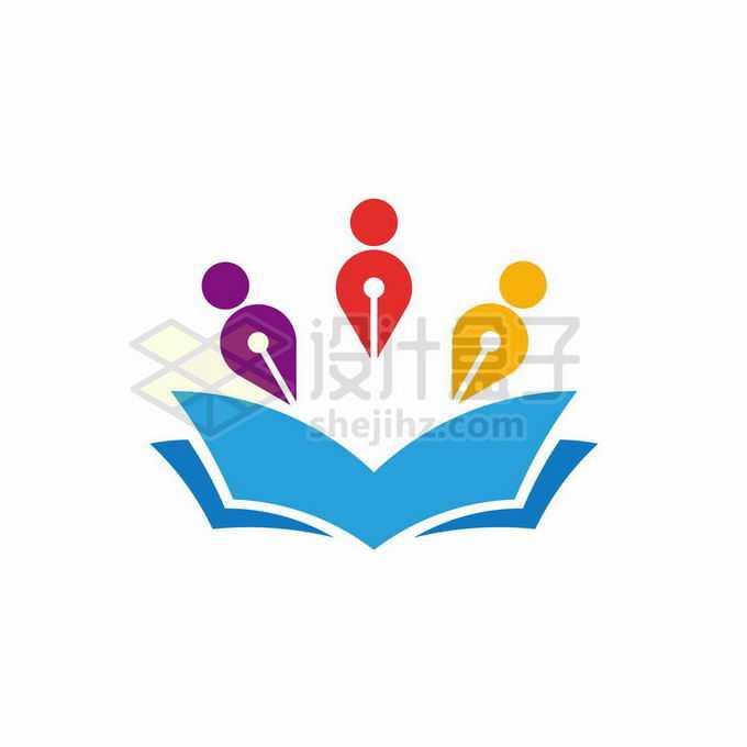 蓝色打开的书本和钢笔笔头小人儿创意文化教育类logo标志设计2838426矢量图片免抠素材