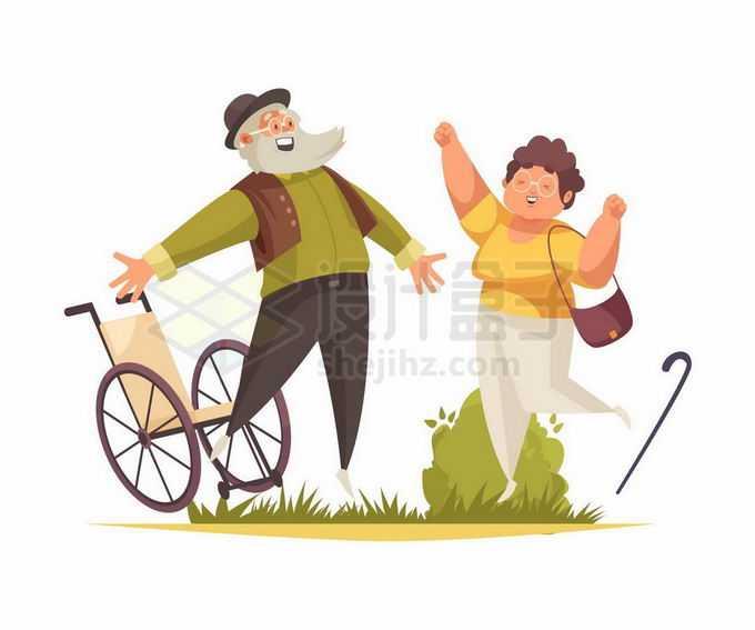 摆脱轮椅和拐杖的腿脚不利索的老爷爷和老奶奶象征了老人身体健康8382258矢量图片免抠素材