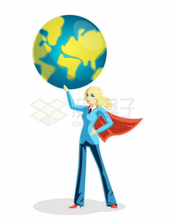 身穿蓝色西服的卡通女超人举着地球1304239矢量图片免抠素材免费下载