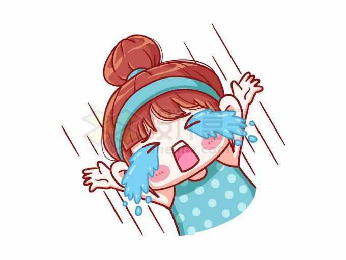 流泪大哭的卡通女孩表情包4071893矢量图片免抠素材免费下载