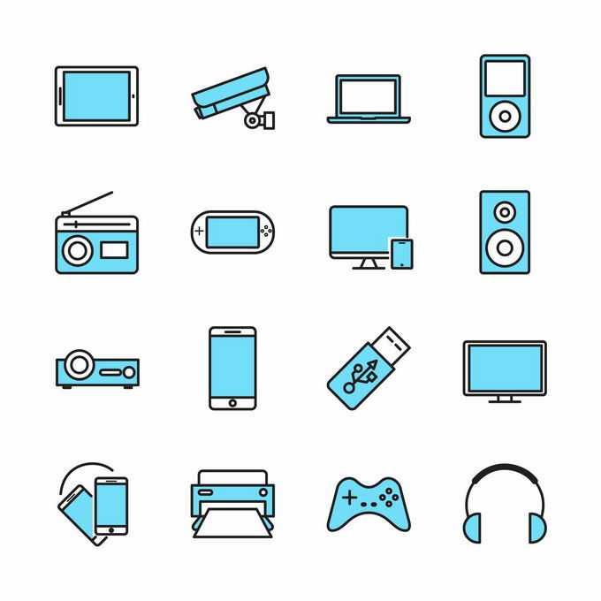 平板电脑监控摄像头笔记本收音机游戏机手机等IT设备蓝色图标4781042矢量图片免抠素材免费下载