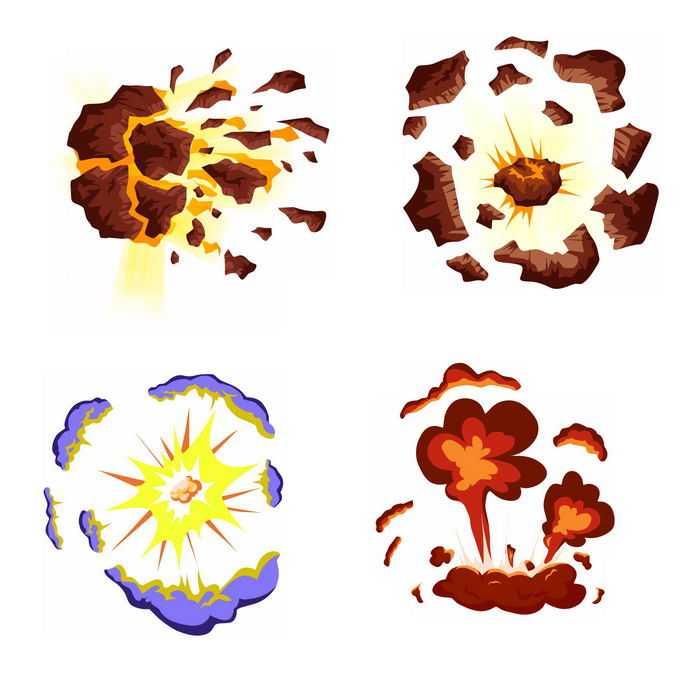 4种卡通漫画风格的彩色爆炸效果9525389矢量图片免抠素材