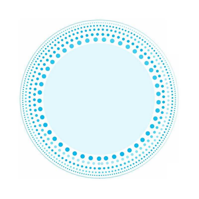 蓝色圆点组成的圆形文本框装饰1958257免抠图片素材