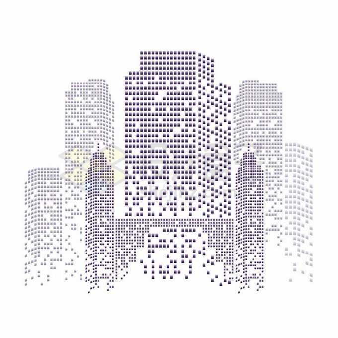 紫色方块组成的城市天际线高楼大厦建筑图案8456903矢量图片免抠素材