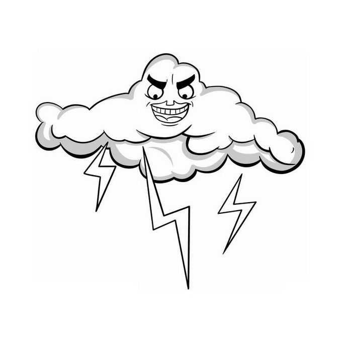 卡通乌云打雷闪电雷阵雨天气2895498免抠图片素材