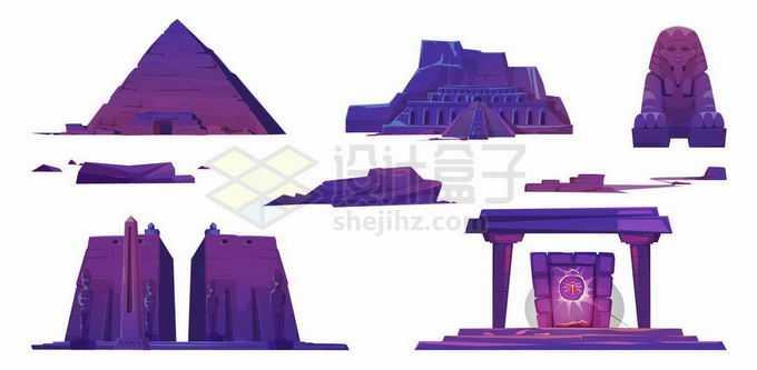 紫色的卡通金字塔狮身人面像埃及神庙等旅游景点3078306矢量图片免抠素材免费下载