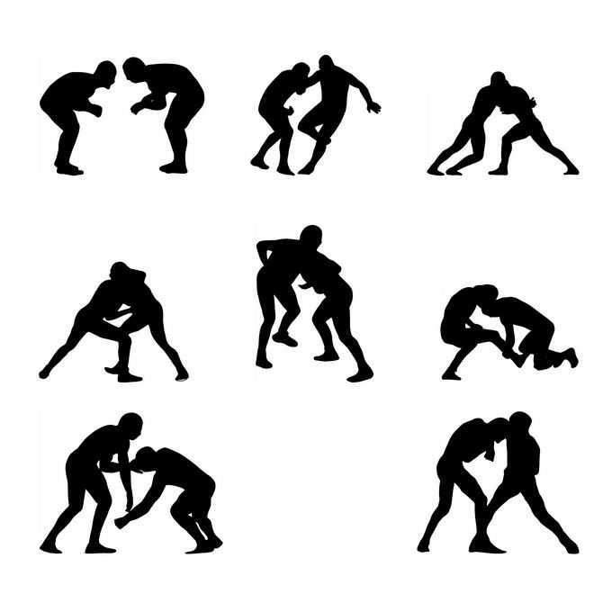 8款摔跤运动员奥运会人物剪影5578750免抠图片素材