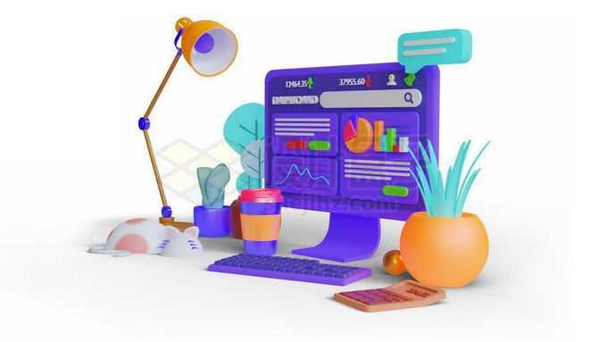 3D立体风格电脑和台灯设计师桌面2559454免抠图片素材免费下载