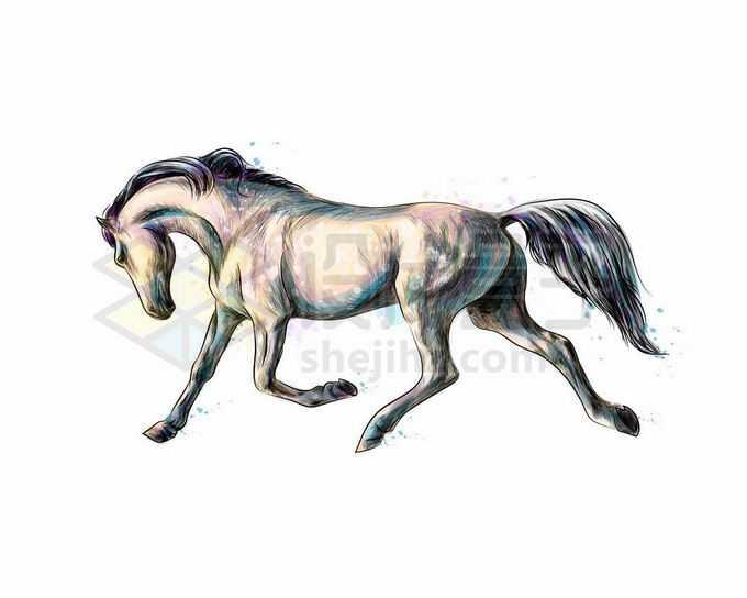 低头慢速奔跑着的白色骏马写实风格水彩插画2010323矢量图片免抠素材免费下载