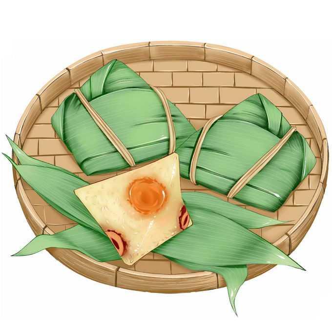 竹盘中的肉粽子蛋黄粽子蜜枣粽子端午节美味美食4151500免抠图片素材