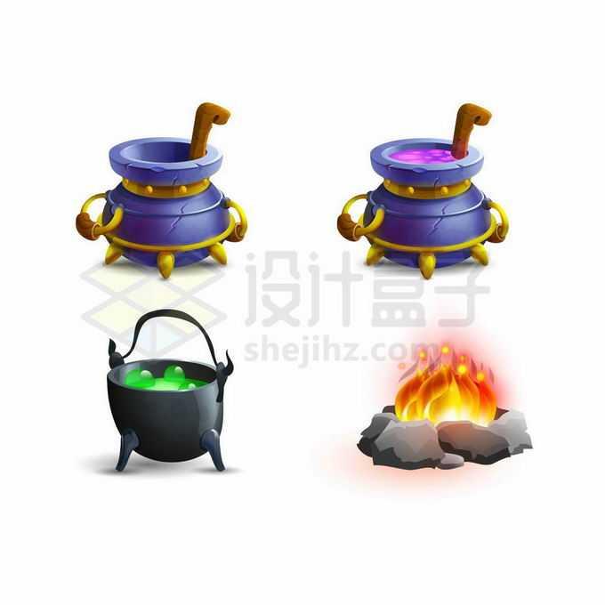 炼丹炉和篝火游戏道具UI元素3824923矢量图片免抠素材