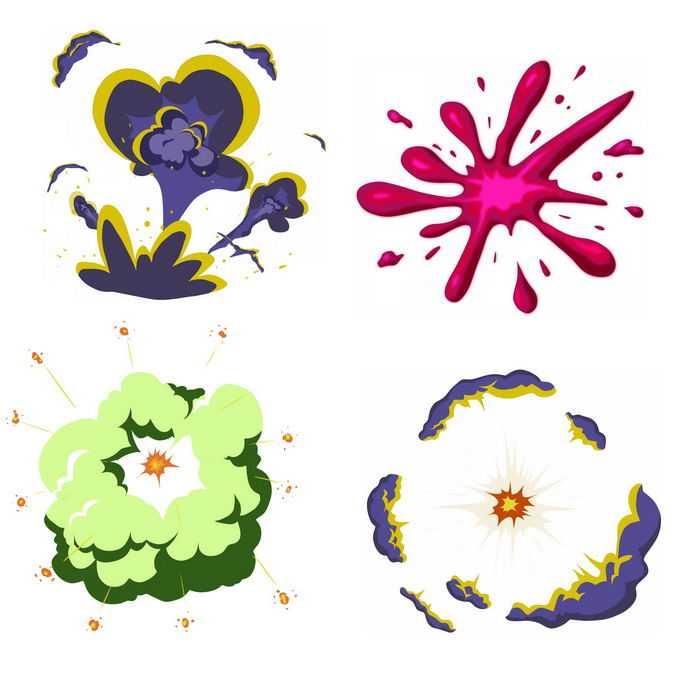 4种卡通漫画风格的彩色爆炸效果1283761矢量图片免抠素材